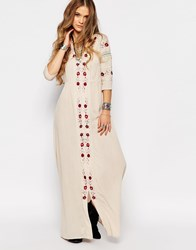 Glamorous Maxi Smock Dress With Festival Embroidery Sand Multi Embroider