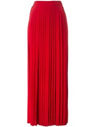 Tory Burch Long Pleated Skirt Red