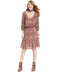American Living Printed Peasant Dress Only At Macy's Red Multi