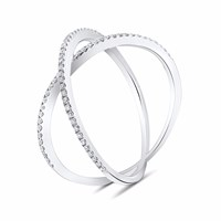 Cosanuova Dainty X Diamond Ring 18K White Gold Silver