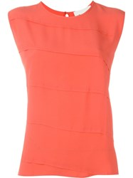 8Pm Panelled Sleeveless Blouse Yellow And Orange