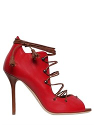 Malone Souliers 100Mm Leather Open Toe Lace Up Boots