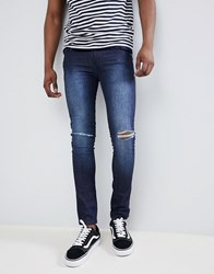 Loyalty And Faith Siret Super Skinny Jeans With Ripped Knees In Dark Wash Blue