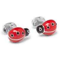 Deakin And Francis Ladybird Enamelled Sterling Silver Cufflinks Red