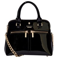 Modalu Pippa Leather Chain Across Body Bag Black Patent