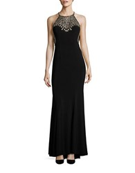 Betsy And Adam Sleeveless Embellished A Line Gown Black Gold
