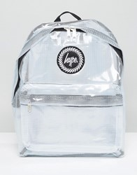 Hype Transparent Backpack With Check Tarpaulin White