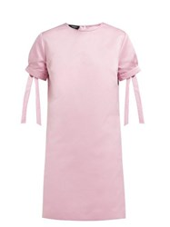 Rochas Tie Cuff Satin Mini Dress Pink
