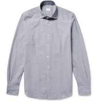 Incotex Slim Fit Puppytooth Cotton Jacquard Shirt Storm Blue