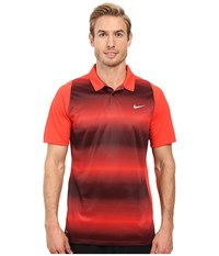 Nike Tiger Woods Vl Max Sphere Stripe Polo Light Crimson Black Reflective Silver Men's Short Sleeve Pullover Red