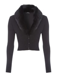 Jane Norman Faux Fur Collar Cardi Black