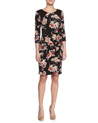 Yoana Baraschi 3 4 Sleeve Floral Print Sheath Dress 10