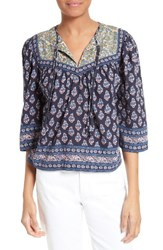 La Vie Rebecca Taylor Women's Indienne Cotton Split Neck Top