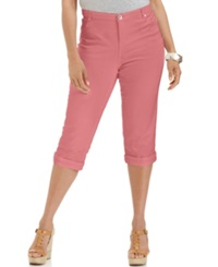 Style And Co. Plus Size Tummy Control Capri Jeans Dusty Rouge