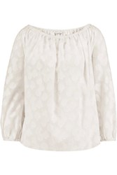 Tanya Taylor Nessa Off The Shoulder Fil Coupe Cotton Top White