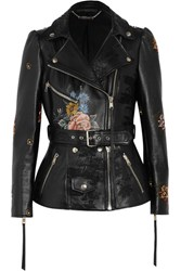 Alexander Mcqueen Embroidered Painted Leather Biker Jacket Black