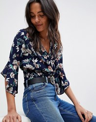 Ax Paris Floral Crop Top With Flute Sleeve Navy