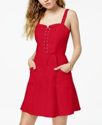 Xoxo Juniors' Lace Up Fit And Flare Dress Red