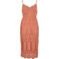 River Island Womens Peach Pink Lace Bodycon Dress
