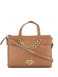 Love Moschino Faux Leather Tote Bag Brown