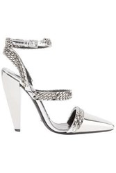 Tom Ford Chain Embellished Mirrored Leather Pumps Silver
