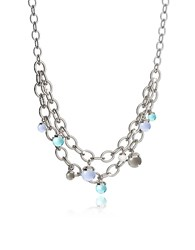 Rebecca Hollywood Stone Rhodium Over Bronze Chains Necklace W Hidrothermal Stones Multicolor