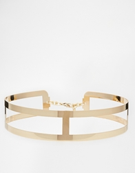 Asos Metal Waist Belt With Cut Work Detail Gold