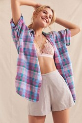 Urban Renewal Vintage Oversized Plaid Button Down Shirt Assorted