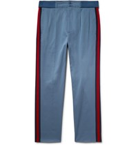 Gucci Webbing Trimmed Stretch Cotton Twill Trousers Blue