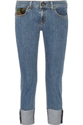 Rag And Bone Dre Camouflage Trimmed Slim Boyfriend Jeans Mid Denim