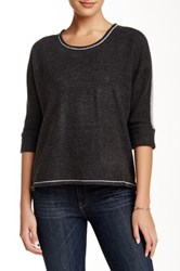 Zoa 3 4 Dolman Sleeve Textured Yoke Sweater Gray