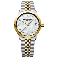 Raymond Weil 5634 Stp 97081 'S Freelancer Diamond Mother Of Pearl Two Tone Bracelet Strap Watch Silver Gold