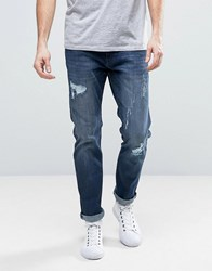 Esprit Relaxed Slim Fit Jeans With Distressing Mid Blue
