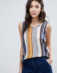 Vila Stripe Sleeveless Blouse Total Eclipse Blue