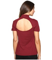 Splendid Slub 1X1 Fitted Turtleneck Tee Maroon Women's T Shirt Red