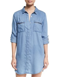 Seafolly Embroidered Beach Tunic Shirt Washed Chambray Blue