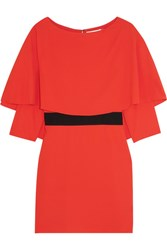 Alice Olivia Cairo Cape Back Crepe Mini Dress Tomato Red