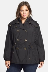 Kors Michael Kors Double Breasted Anorak With Detachable Hood And Bib Plus Size Black