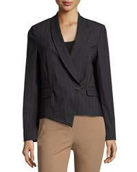 Brunello Cucinelli Pinstripe Wool Blend Jacket Gray Brown