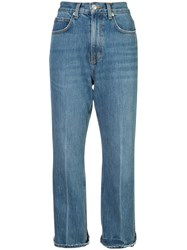 Proenza Schouler Pswl Cropped Flare Jeans Cotton Blue