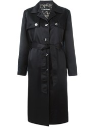 Louis Feraud Vintage Long Trench Coat Black