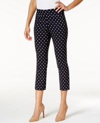 Charter Club Printed Tummy Control Capri Pants Only At Macy's Deepest Navy Combo