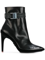 Off White For Walking Ankle Boots Leather Velvet Rubber Black