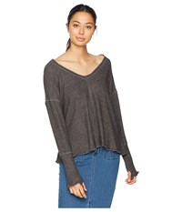 Lucy Love Comfort Zone Top Charcoal Clothing Gray