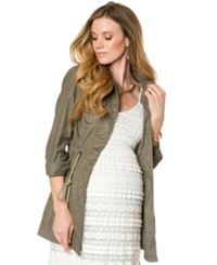 A Pea In The Pod Maternity Drawstring Jacket Olive