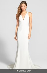 Women's Amsale Back Detail Flared Silk Crepe Gown Ivory