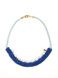 Lucy Folk Pearler Pearl And Crochet Necklace Blue