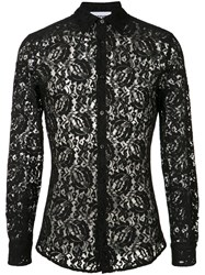 Moschino Sheer Lace Shirt Men Polyamide Rayon 39 Black