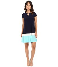 Christin Michaels Meg Color Block Dress Navy Aqua Women's Dress Multi