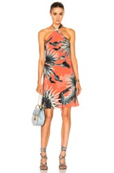 Adriana Degreas Maxi Flower Halter Dress In Pink Floral Orange Pink Floral Orange